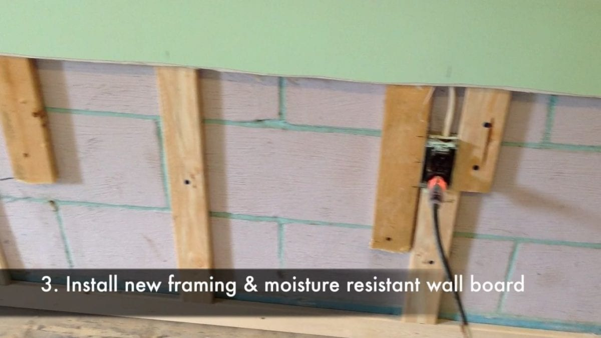 New framing before moisture resistant wall board is added