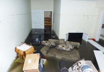 Flooded basement that could have been prevented by using D-Bug Waterproofing